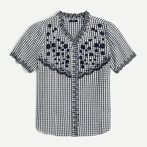 J. Crew Embroidered Gingham Top